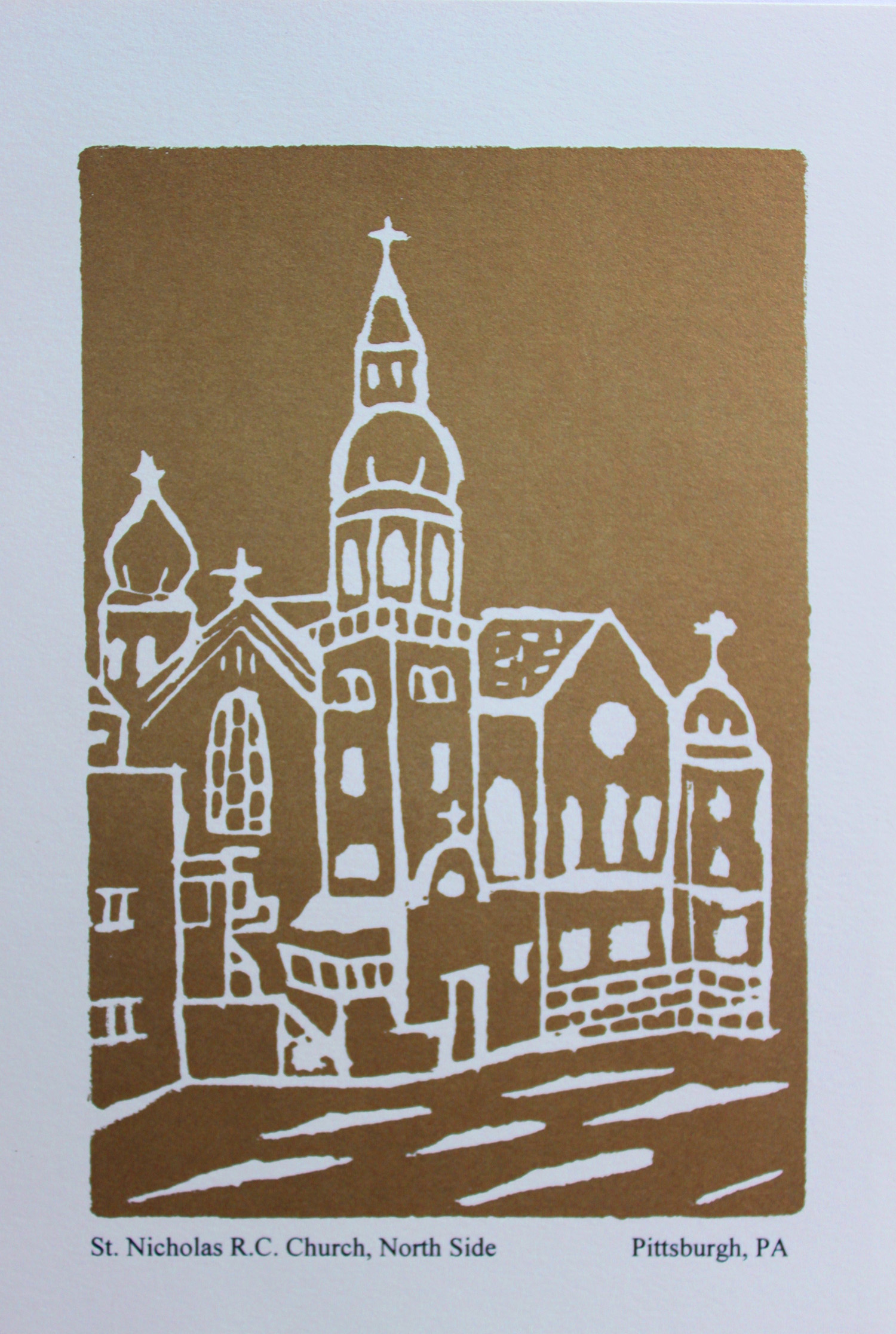 St. Nicholas Church Block Print Note Card (5-1/2