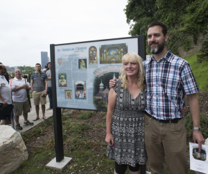 Debbie Brimner and Jesse Belfast of Michael Baker Corporation, creators of the Interpretive Panels, admire their work.