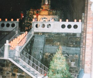 Christmas - luminaries lining the stairs to the grotto