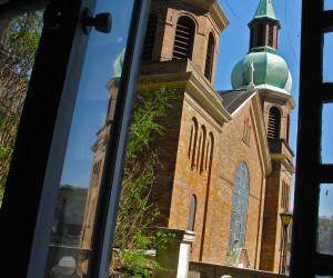 2013 View of church steeple from inside grotto chapel