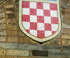 "1979 - ""Croatian Coat of Arms (Grb) mosaic installed - in memory of Roka & Ana Sikiric"""