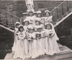 1950 Little girls who were part of the May Crowning Procession
