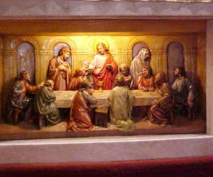 1979 Marble altar with lighted, three-D inserted replica of The Last Supper