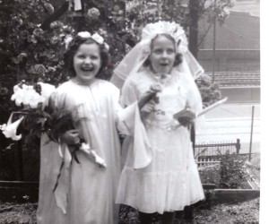 1951 First Holy Communicant accompanied by a first grade angel