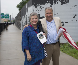 2015 KDKA reporter, Mary Robb Jackson and Steve Willing at June 20 Dedication and Ribbon Cutting at St. Nicholas Church Historic Site