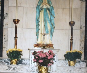 Blessed Mother - Marble Altar donated by  Young Ladies Sodiality in 1944