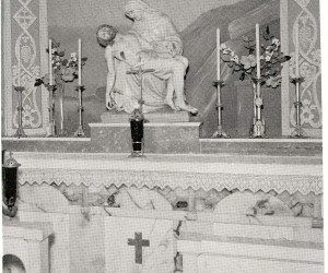 Our Lady of 7 Sorrows Altar in Vestibule -  donated by Confraternity of Christian Mothers in 1944