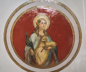Virgin Mary Mural on ceiling of choir loft