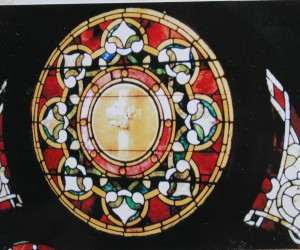 Rosetta and other stained glass windows made by Films Art & Glass Company