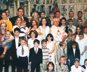 2000, May - Fr. Grgo Sikiric's Farewell Mass; Fr Grgo with many of the children he baptized at St. Nick's