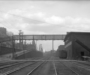 1909 - Pine St. Bridge looking west.  St. Nicholas Church can be seen in the background 715.091235.CP **