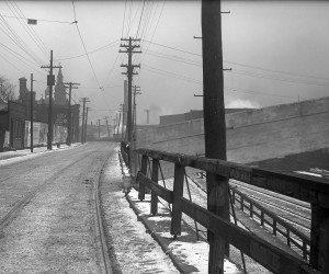 1912 - View of the N. end of Pine St. Br. looking E. along E. Ohio St., St. Nicholas Church on Left 715.122496.CP **