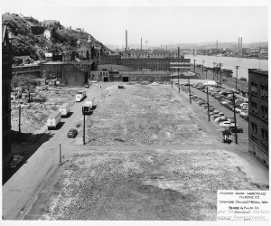 1950 - Future site of the Finished Goods Whse. - St. Nicholas in background. CMSP57_B060_F06_I06 *