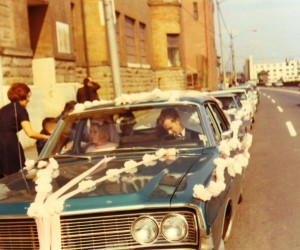 1970 - Wedding caravan - cars decorated with hand-made carnations and crepe paper